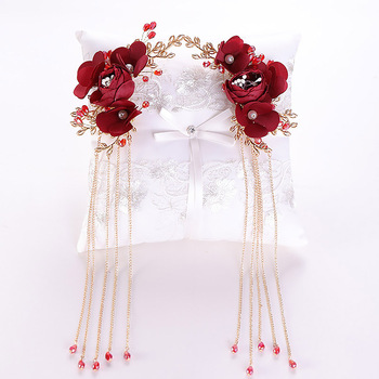 Chiński klasyczny ślub panny młodej akcesoria biżuteria do włosów kwiat czerwonej róży Tassel szpilki do włosów kryształowe ślubne szpilki do włosów chluba BH tanie i dobre opinie FORSEVEN Ze stopu cynku moda Metal Kobiety TRENDY 38077 PLANT