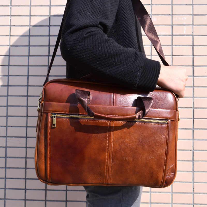 AETOO Bolsa Homens Pastas De Couro Genuíno Saco Sacos de Ombro Tote Laptop homens Mensageiro Sacos Crossbody Bolsas Saco do desenhador