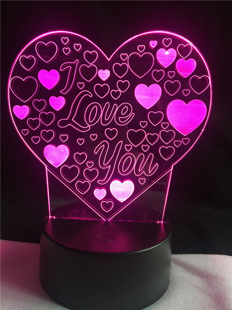 Schön 2018 Valentinstag Geschenk Nachtlicht Romantische Vorschlag Ich Liebe Dich  Herz 3D LED Lampe Atmosphäre Bunte Taschenlampe