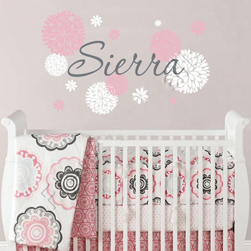baby girl name wall decal with dahlia flowers baby girl nursery or teen bedroom wall decal. Black Bedroom Furniture Sets. Home Design Ideas