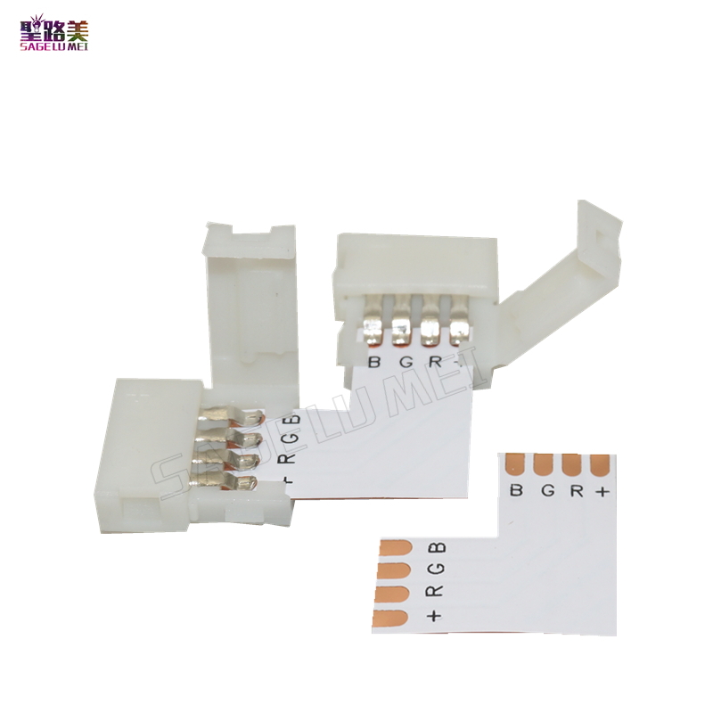 10 Set L Shape LED Connector 2 Pin/3 Pin/4 Pin/5pin Solderless For 8mm/10mm/12mm 5050/ws2811/ws2812b RGB/ RGBW/ WW SMD LED Strip
