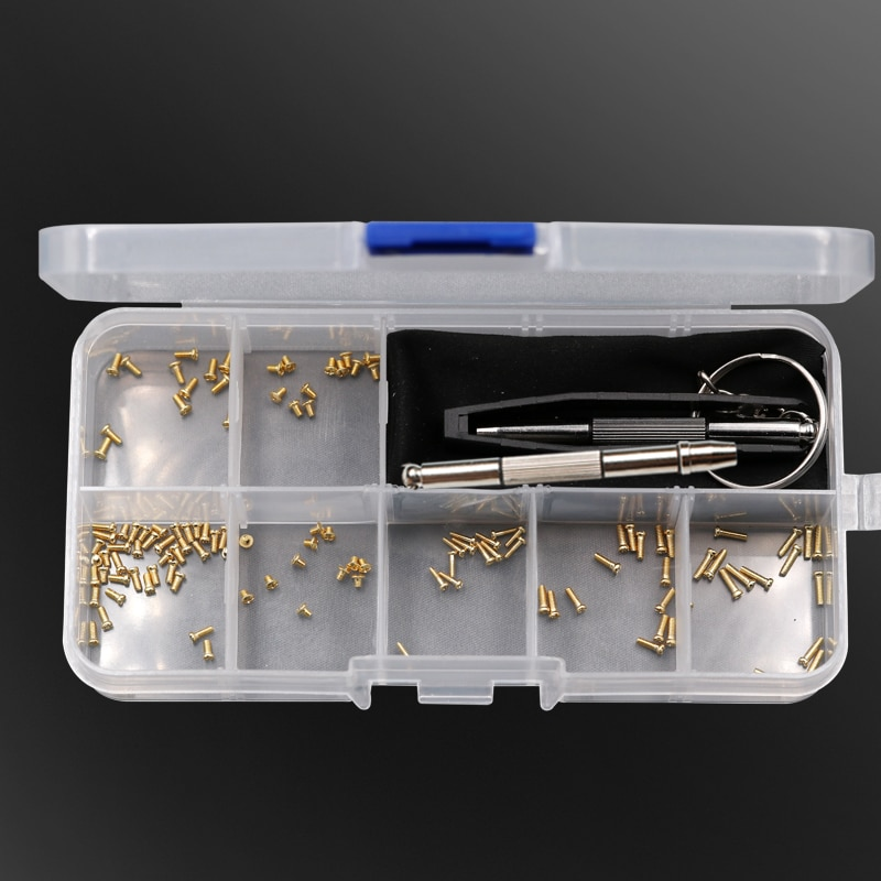 Eyeglasses Sunglasses Watch Repair Kit With Screws Tweezers Screwdriver Gold/Black Stainless Steel Screws