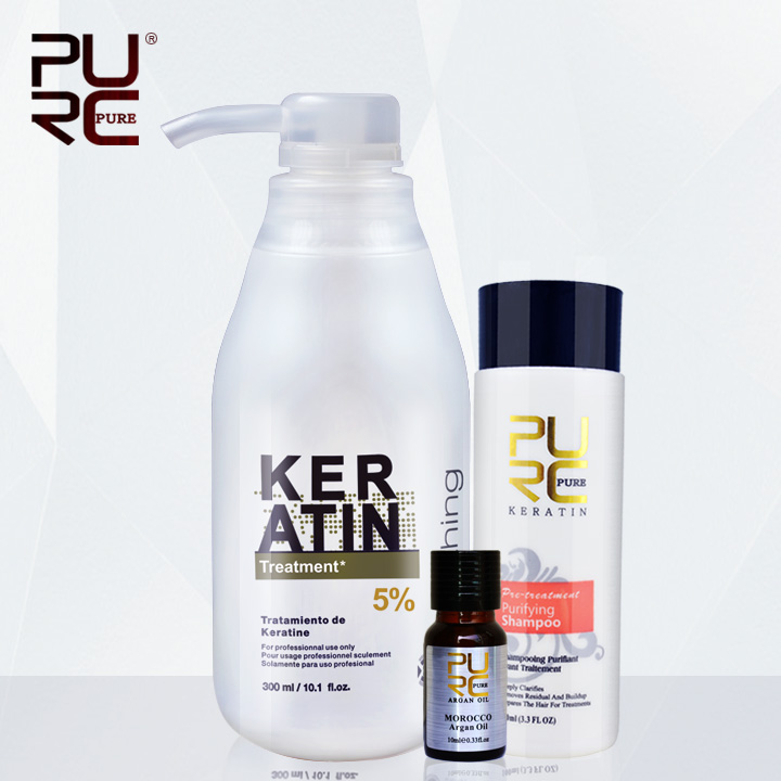 PURC Brasilianische Keratin Behandlung begradigung haar 5% formalin Beseitigen frizz und haben glänzende gesunde haar erhalten freies arganöl