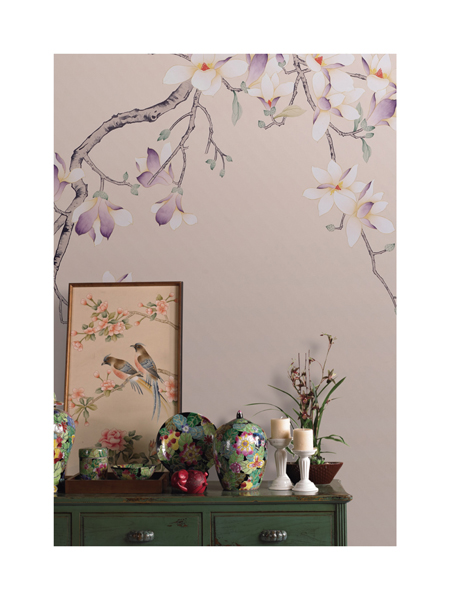 Background walls Hand-painted silk wallpaper painting Magnolia with birds hand painted wallcovering many arts/materials optional iarts aha072962 hand painted thick texture of knife painting trees oil painting red 60 x 40cm