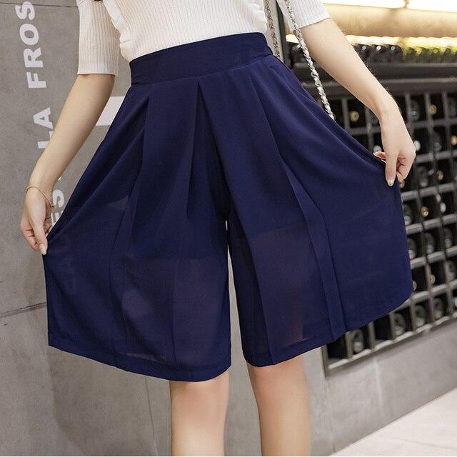2020 summer chiffon short pants loose black/blue wide-legged trousers knee-length elastic waist women fashion capris pants 1