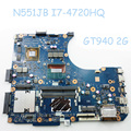 N551JB W/ i7-4720HQ Motherboard For ASUS N551J G551J N551JM Laptop Mainboard With GT940M 2GB Graphics Card Rev 2.1