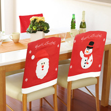 1PC Christmas Joyous Home Decor Chair Cover Flannel Xmas Snowman Snowflake Santa Claus Cartoon Seat