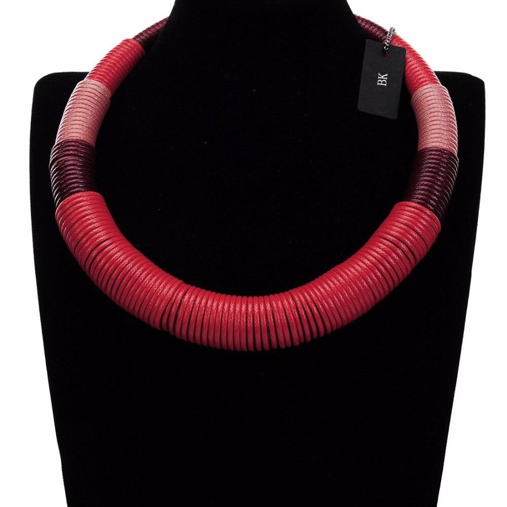 BK Böhmen Kragen Halskette für Frauen Multicolor Handgemachte Afrikanische Stil Kette Stoff Seil Ethnische Festival Halsband Bib Halskette