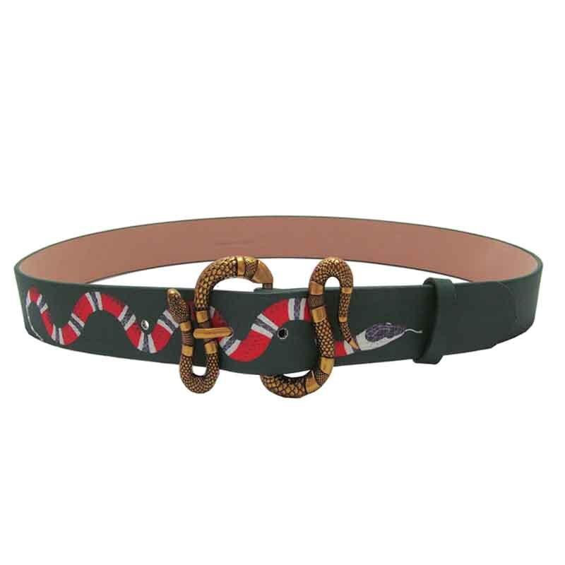 Western Fashion Men Print Snake Leather Belt Retro Style Snake Buckle Belt Men Leisure Strap