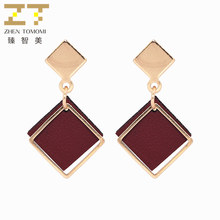 2018 New Arrivals Women's Hot Fashion Simple Geometric Hollow Square Earrings Wine Red Leather Drop Earrings For Women Jewelry(China)