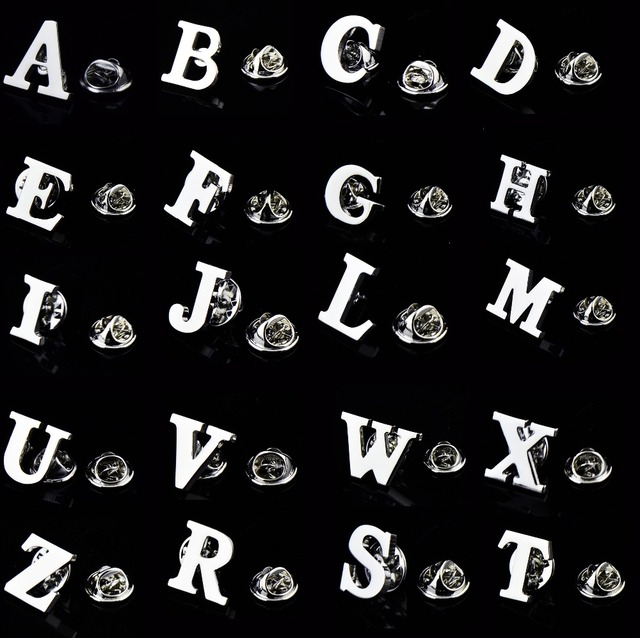 Igame Letters Pin Silver Color Fashion English Symbol Design 26