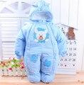 Бесплатная Доставка 2016 Зима новорожденный толстые комбинезон детей ватные куртки дети теплый хлопок-проложенный флис комбинезоны комбинезоны
