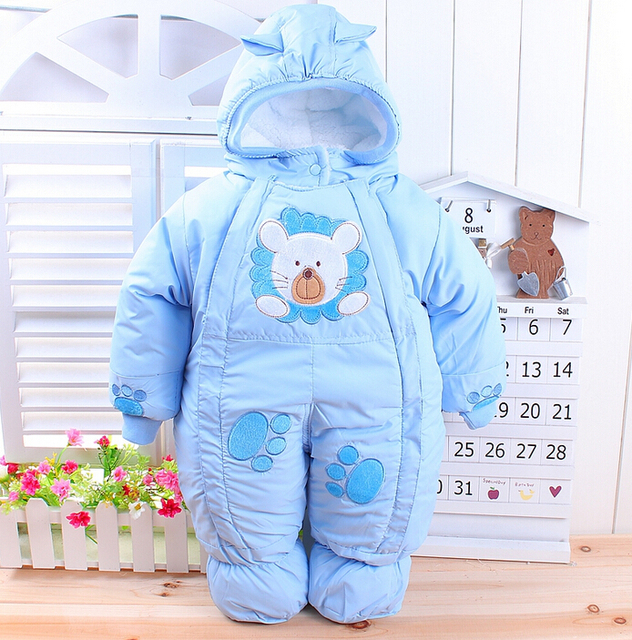 Envío Libre 2016 de Invierno recién nacido bebé de los mamelucos gruesos niños chaqueta wadded niños de algodón acolchado cálido fleece monos monos