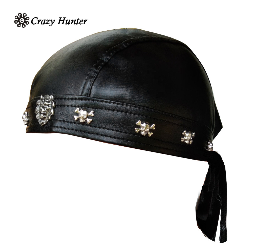 4390a4bd79 US $12.9 |Aliexpress.com : Buy Faux Leather Biker Skull Cap Motorcycle  Bandana Head Wrap Du Doo Do Rag Black Hat from Reliable Sun Hats suppliers  on ...