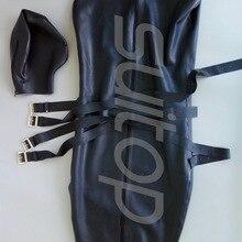 Тяжелый 0,8 мм латексный спальный резиновый комбинезон, включая 4 ремня и с карманом для рук внутри