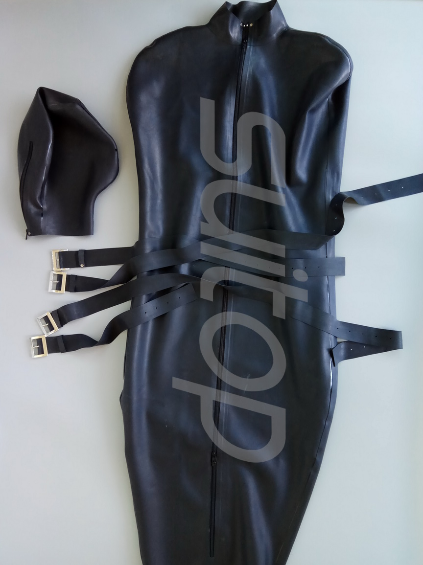 Heavy 0.8 Mm Latex Sleeping Rubber Bag Catsuit  Including 4 Belts And With Arm Pocket Inside