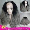 Афро кудрявый вьющиеся седой парик фронта парик для женщин из жаропрочного синтетического ломбер серебряный серый цвет волос волос младенца