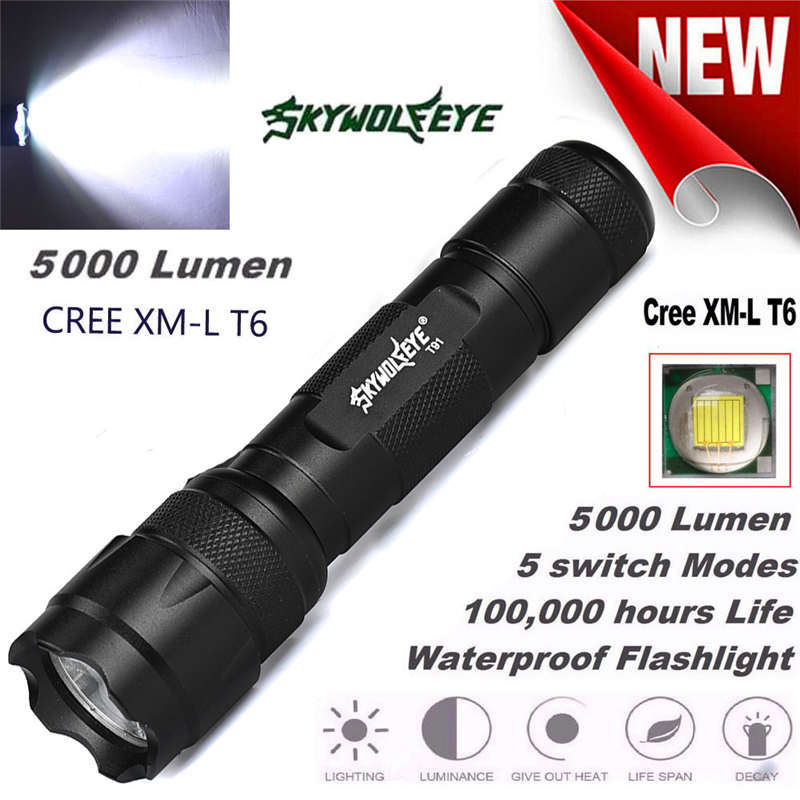 Powerful 5000LM 5 Mode XML T6 LED Zoomable Flashlight Torch 18650 Lamp Light