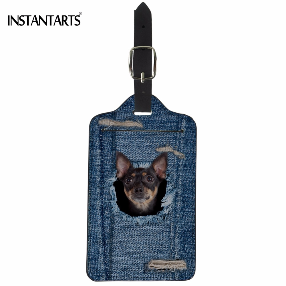 INSTANTARTS Cute Fake Denim Puppy Chihuahua Print Luggage Tag Fashion Baggage Boarding Tags Travel Accessories ID Address Holder