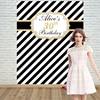 Allenjoy Gold Black White Stripe Adult Birthday Backdrop Background Photo Booth Party Banner Invitation Celebration Customize