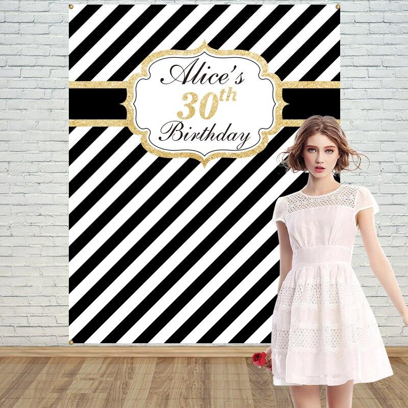Allenjoy Or Noir blanc rayé Adulte Anniversaire contexte photo stand bannière de fête Invitation fête personnaliser