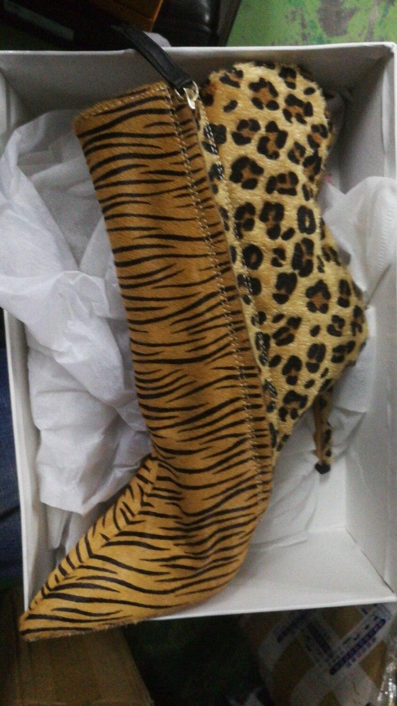 Nueva Fiesta Zapatos Señoras Punto Gamuza Las Llegada Marrón Botas Otoño Mujeres Del Tacón Pie 2019 Tobillo Leopardo De Fino Para Dedo dvHnqpF