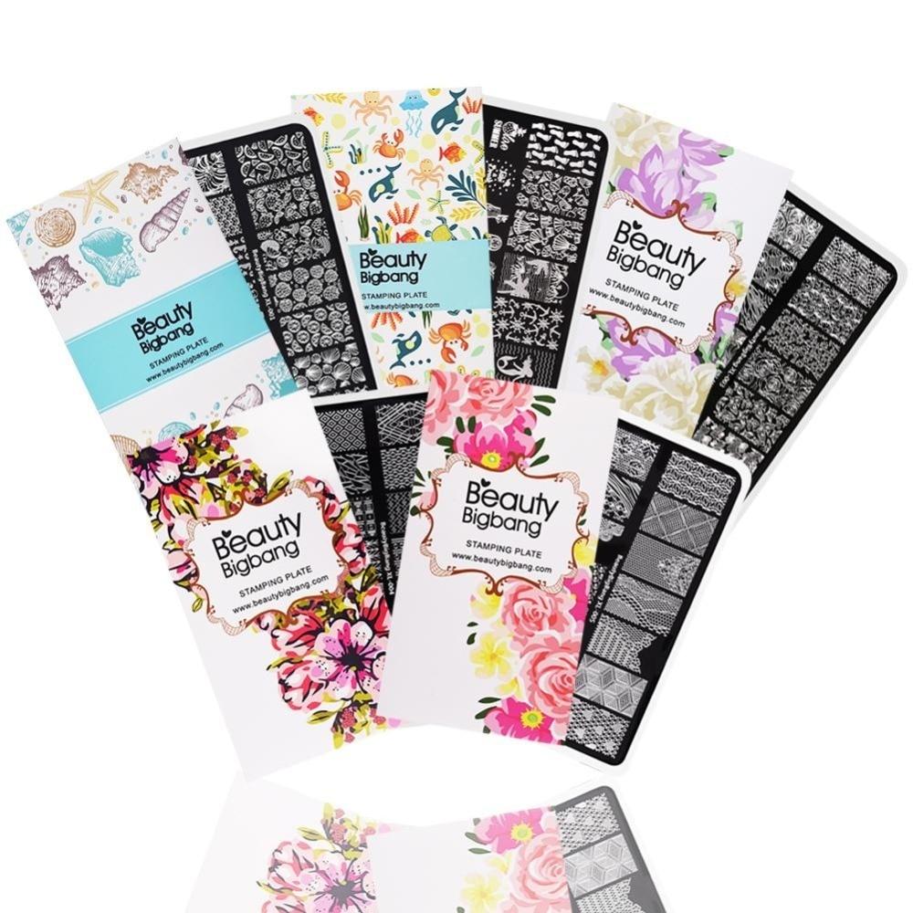BeautyBigBang 5 pcs Estampage Pour Ongles 6*12 cm Rectangle Ongles Estampage Plaques D'été Fleur Nail Modèle Ongles Estampage