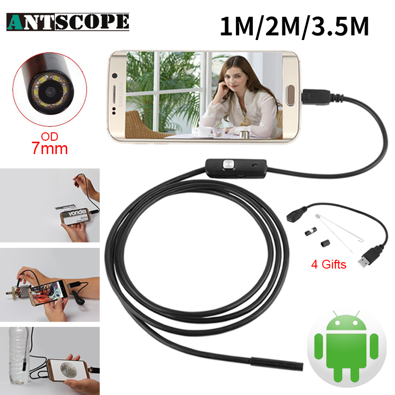 Endoskop 7mm 1M 2M 3.5M USB Android Endoscope Camera Inspection Phone Camera IP67 OTG USB Endoscoop Camera Borescope Endoscopio mini camera endoscope 2in1 android usb camera 2m 5m 8mm hd tube pipe waterproof phone pc usb endoskop inspection borescope otg