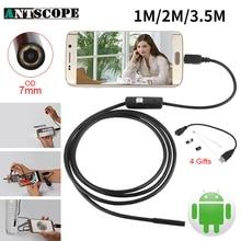 Endoskop 7 мм 1 м 2 м 3.5 м USB андроид эндоскоп Камера инспекции телефон Камера IP67 OTG USB endoscoop Камера бороскоп endoscopio