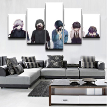 Canvas Wall Art Modern Frames For Painting 5 Panel Anime Ken Kaneki Mask Tokyo Ghoul Modular Pictures Bedroom Print