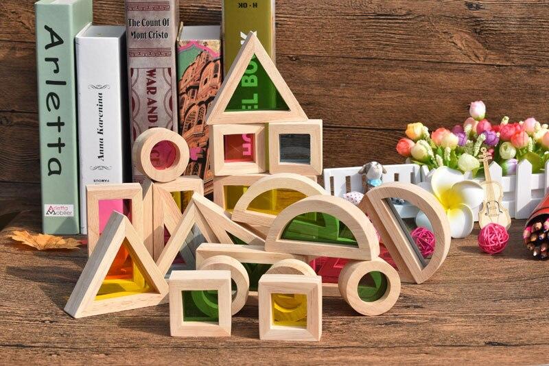Arcylique arc-en-ciel en bois blocs de construction enfance précoce éducatif Montessori jouets enfants cadeau - 5