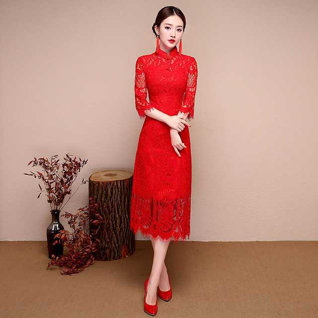 Bride Cheongsam Long Modern Qipao Lace Sexy Red Chinese Oriental Style  Dresses Traditional Wedding Dress Women Fashion TSHN 145a30cfe627