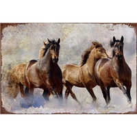 Horses Shabby Chic Metal Wall Plaques Vintage Tin Signs Metal Poster Art Bar Pub Iron Painting Posters Wall Decorative Plate