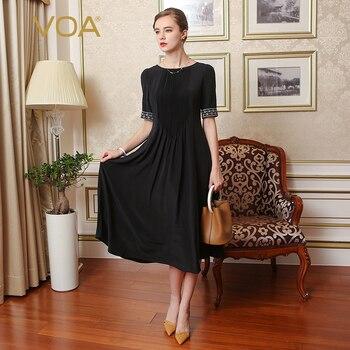 VOA Silk Embroidery Plus Size 5XL dress women party woman night summer dresses Black Half Sleeve