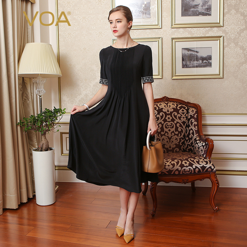 VOA soie broderie grande taille 5XL robe Audrey Hepburn solide noir demi manches femmes longue robe brève Vintage mince été A7607