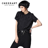Original Women Summer Black Burnt Out Short Sleeve Chiffon Blouse Plus Size Loose Novelty Top New