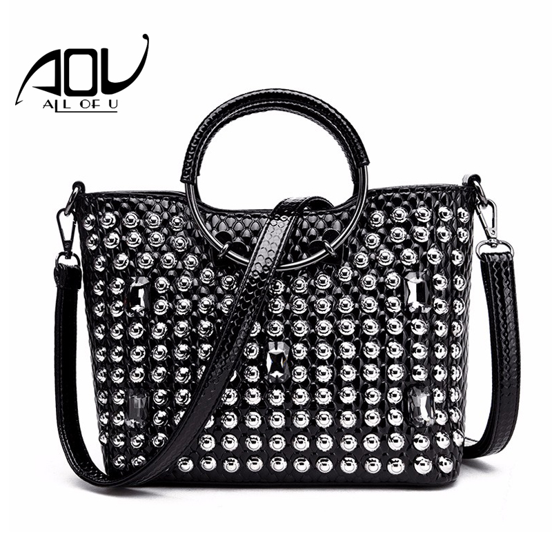 AOU Rivet Top-Handle Bags Women Serpentine grain Crossbody bag Brand Design Women Luxury Messenger Bag Casual tote Sac a Main aou new women classic bag brand chains bags women s fashion shoulder bag red celebrity crossbody bag sac a main china gift