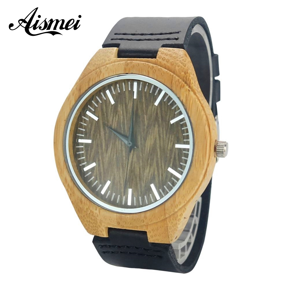 Bamboo Wood Watches Japan Quartz with design face Genuine Leather Wooden Wristwatches for Men Women casual gift Watches