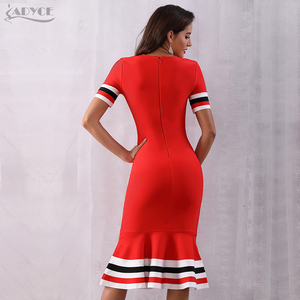 Image 5 - Adyce 2020 뉴 여름 레드 붕대 드레스 여성 섹시한 짧은 소매 인어 클럽 드레스 Vestido 활주로 연예인 이브닝 드레스