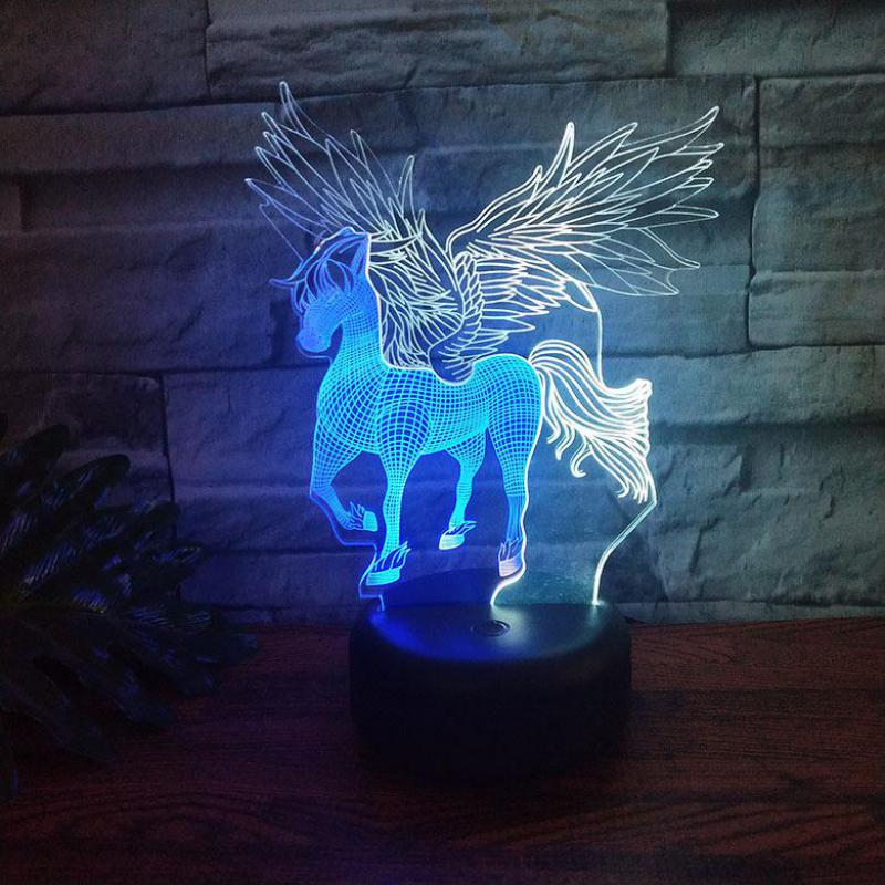 Pegasus Led 3d Colorful Nightlight Creative Visual Touch Charging Christmas Decorative Lights Lovely Cartoon Children's Toys