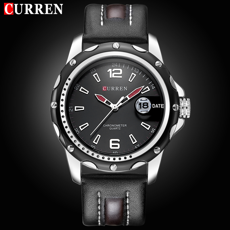 2016 NEW CURREN Brand Top Luxury Leather Men Watches Business Quartz Watch Date Waterproof Relogio Masculino Relojes Hombre