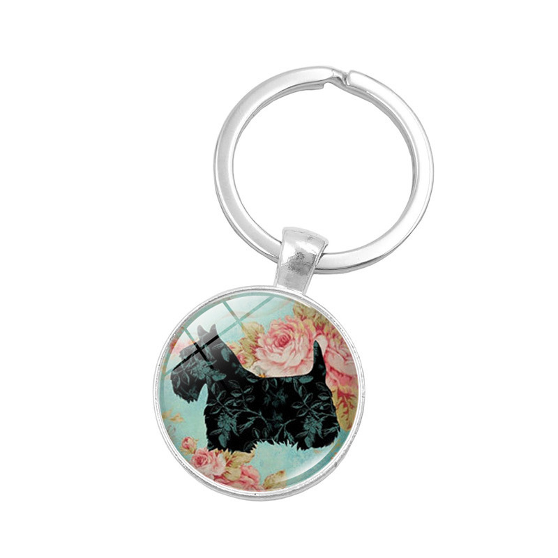 Cute Keychain Jewelry with Silver Plated Glass Cabochon Dog Pattern Car Keychain Ring for Men Women Gift