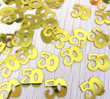 50g adults 50th happy Birthday GOLD Confetti Foil Sprinkles