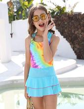 MAICO Swimsuits for Girls One Piece Swimsuits with Shorts, Colorful Heart Pattern Printing Crossback Bathing Suit for Kids crossback one piece swimwear