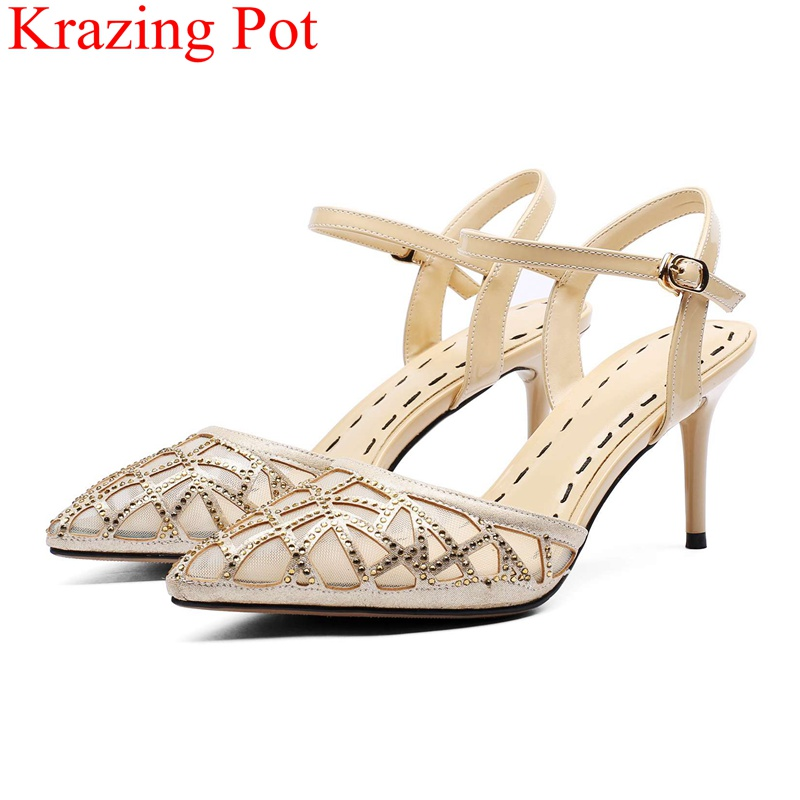 2018 new office lady pointed toe buckle strap high heels shallow handmade elegant women sandals wedding crystal runway shoes L28