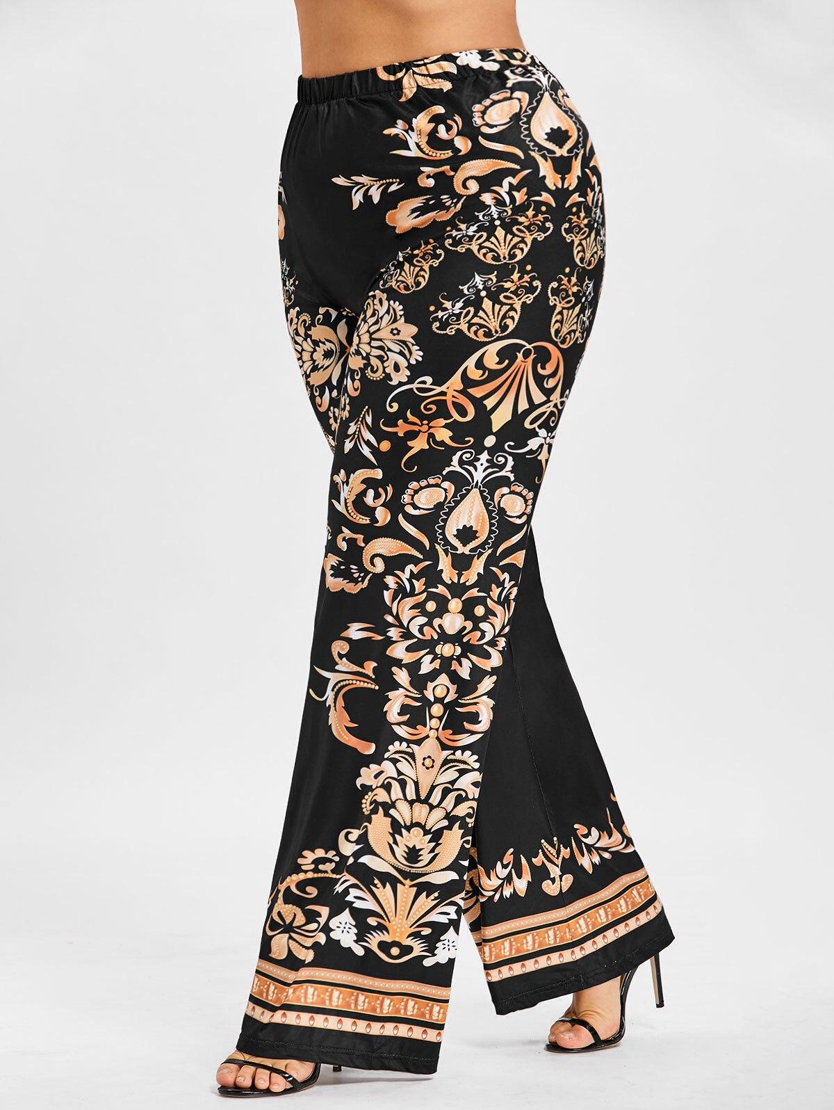 d9e0cac5d1582 Baroque Print Overlength High Elastic Waist Wide Leg Pants