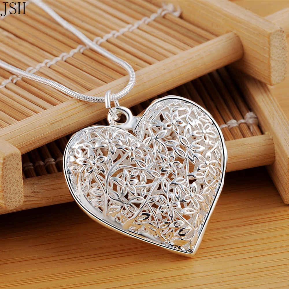 Wholesale necklace Free shipping fashion silver color jewelry elegant charms wedding exquisite heart necklace women , P218