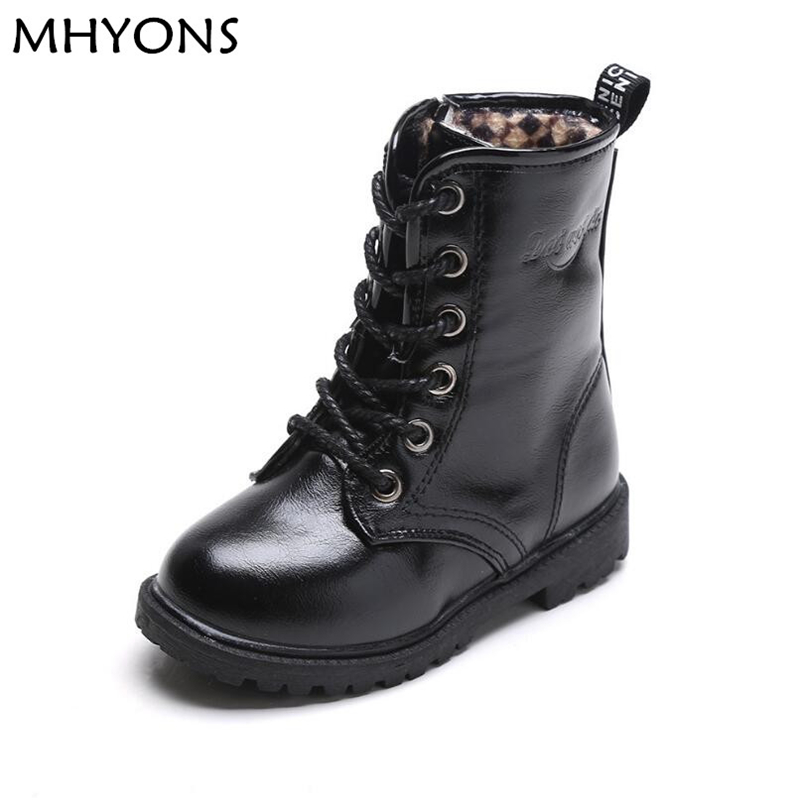 MHYONS New Fashion Children Boots Kids Lace up Martin Boots Boys Girls Antislip Shoes Spring Autumn Leather Boots Size 27-37 ...