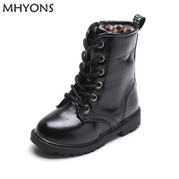 MHYONS New Fashion Children Boots Kids Lace Up Martin Boots Boys Girls Antislip Shoes Spring Autumn