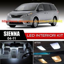 Free Shipping 14Pcs/Lot 12v Xenon White/Blue Package Kit LED Interior Lights For 04-11 Toyota Sienna